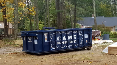 15 cubic Yard Dumpster Rental on Small New Construction Project Salem Street, Andover MA
