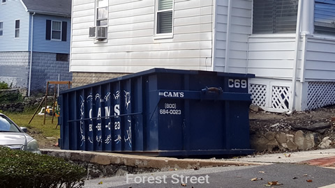 Cam's 20 Cubic Yard Dumpster Rental Customer's Jobsite Forest Street, Arlington, MA