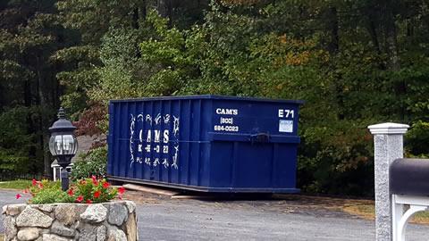 Cam's 30 cubic yard dumpster rental E71 on the job Goldman Circle, Bedford, MA.