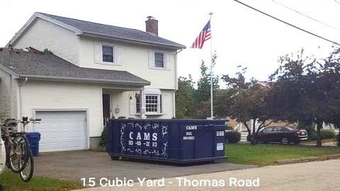 Cam's 15 Cubic Yard Dumpster Rental Customer's Jobsite Thomas Road, Lawrence, MA