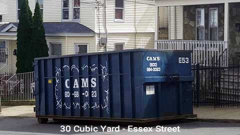 Cam's 30 Cubic Yard Dumpster Rental Customer's Jobsite Essex Street, Lawrence, MA