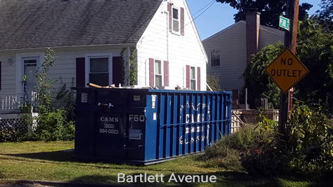 Cam's 30 Cubic Yard dumpster Rental On The job in Lexington, MA