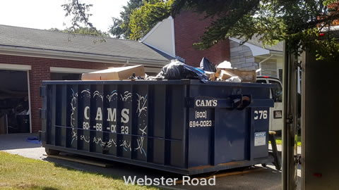 Cam's 20 Cubic Yard dumpster Rental On The job in Lexington, MA
