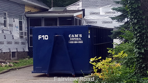 30 Cubic Yard Dumpster Rental on Residential Siding Project Fairview Road, Lynnfield, MA