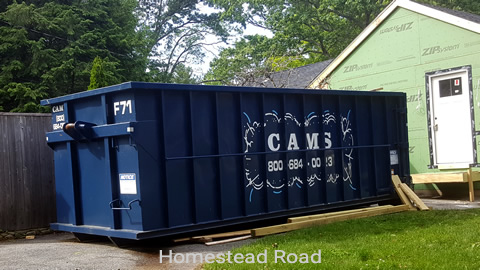 30 Cubic Yard Dumpster Rental on Residential Remodeling Project Homestead Road, Lynnfield, MA