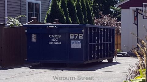 Cam's 15 Cubic Yard Dumpster Rental at Customer's Jobsite Woburn Street, Medford, MA