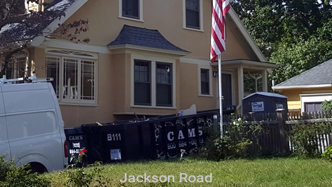 Cam's 15 Cubic Yard Dumpster Rental at Customer's Jobsite Jackson Road, Medford, MA