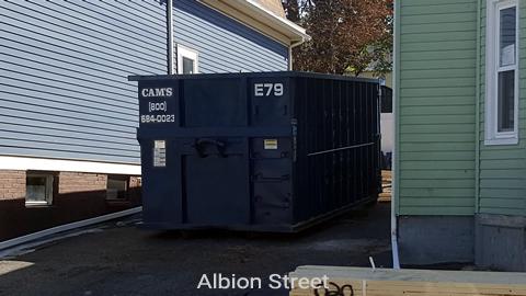 30 Cubic Yard Dumpster Rental at Customer's Jobsite Albion Street, Medford, MA