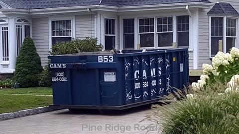 Cam's 15 Cubic Yard Dumpster Rental at Customer's Jobsite Pine Ridge Road, Medford, MA