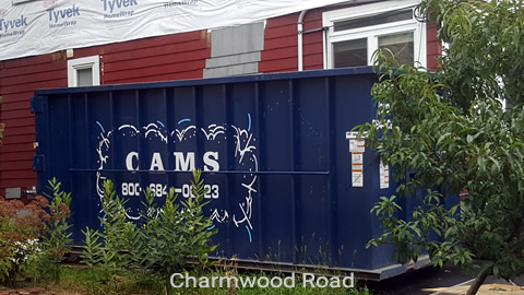 Cam's 30 Cubic Yard Dumpster Rental at Customer's Jobsite Charmwood Road, Medford, MA