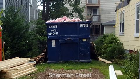 Cam's 30 Cubic Yard Dumpster Rental at Customer's Jobsite Sherman Street, Medford, MA