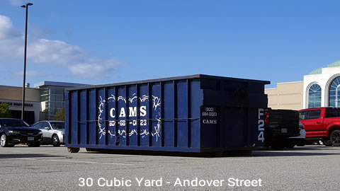 Cam's 30 Cubic Yard Dumpster Rental Customer's Jobsite Andover Street, Peabody, MA