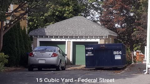 Cam's 15 Cubic Yard Dumpster Rental Customer's Jobsite Salem, MA