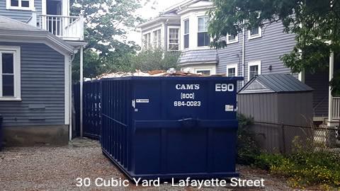 Cam's 30 Cubic Yard Dumpster Rental Customer's Jobsite Salem, MA