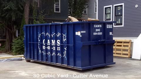 30 Cubic Yard Dumpster Rental Customer's Jobsite Cutter Avenue, Somerville, MA