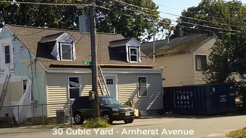 Cam's 30 Cubic Yard Dumpster Rental Customer's Jobsite Amherst Avenue, Waltham, MA