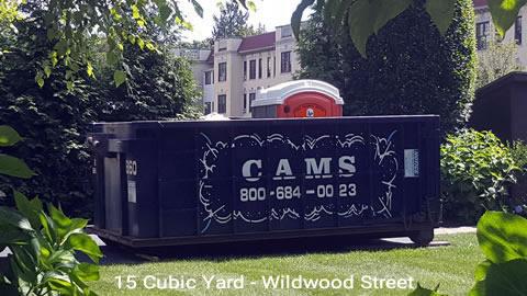 Cam's 15 Cubic Yard Dumpster Rental At Customer's Jobsite Wildwood Street, Winchester, MA