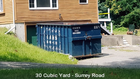 Cam's 30 Cubic Yard Dumpster Rental Customer's Jobsite Surrey Road, Winchester, MA