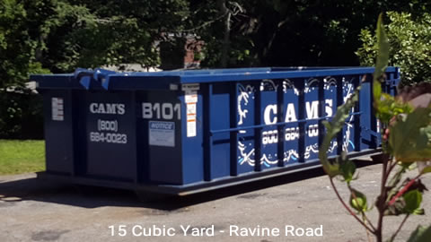 Cam's 15 Cubic Yard Dumpster Rental Customer's Jobsite Ravine Road, Winchester, MA