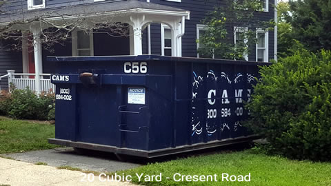 Cam's 20 Cubic Yard Dumpster Rental Customer's Jobsite Cresent Road, Winchester, MA