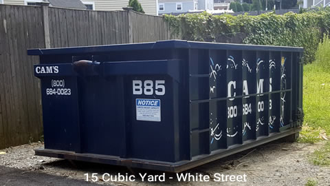 Cam's 15 Cubic Yard Dumpster Rental Customer's Jobsite White Street, Winchester, MA