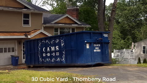 Cam's 30 Cubic Yard Dumpster Rental Customer's Jobsite Thomberry Road, Winchester, MA